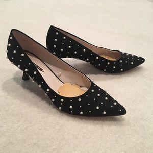 Zara Faux Suede Pearl Pointed Toe Kitten Heels